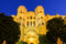 Malaga cathedral by night