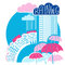 Rain city background with clouds and umbrellas.Vector color flat
