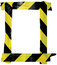 Yellow Black Caution Warning Tape Notice Sign Frame, Vertical Adhesive Sticker Background, Diagonal Hazard Stripes Signal Safety