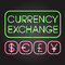 Glowing neon lights currency symbols