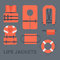 Life jackets types  flat icons set