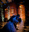 Blue silhouette of dancing wedding couple