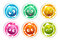 Funny bright round stickers with cartoon fluffy monsters.