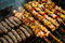 Grilling chicken meat skewers and kebab with vegetables on barbecue charcoal grill