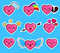 Funny heart emoticon icon set valentine s day.