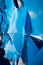 Abstract blue metal 3D-triangle design partition for interior de