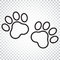 Paw print vector icon in line style. Dog or cat pawprint illustration. Animal silhouette. Simple business concept pictogram on is