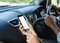 Close-up hand touching on phone mobile inside car movement