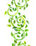 Seamless strip green border with scrolls, leaves. Watercolor