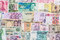 Many different currency banknotes from world country