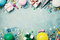 Birthday party banner or background with colorful balloon, gift, carnival cap, confetti, candy and streamer. Flat lay style.