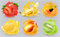 Fresh fruits and splashes, 3d realistic vector icon set