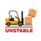 Vector forklift truck moving dropping cardboard boxes.