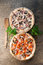 Italian pizza on a brown wooden background