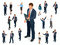 Isometric set of Businessman and businesswoman character design. People isometric business man in different poses