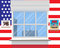 Flag of USA . Tower twin . 9.11. Vector . The view from the window .