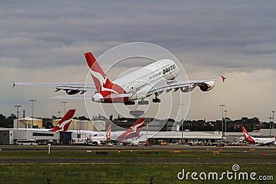 澳洲航空离开在公司喷气机中的空中客车a380