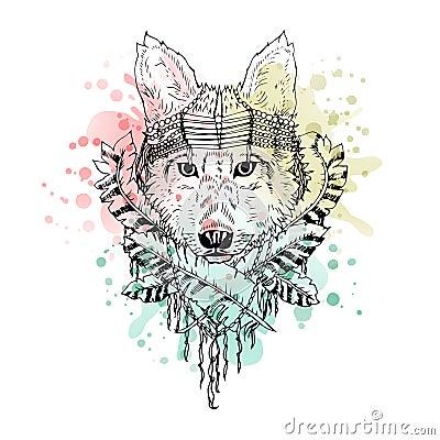 黑白野生动物狼头抽象派纹身花刺乱画cketch, boho样式 水彩飞溅 为