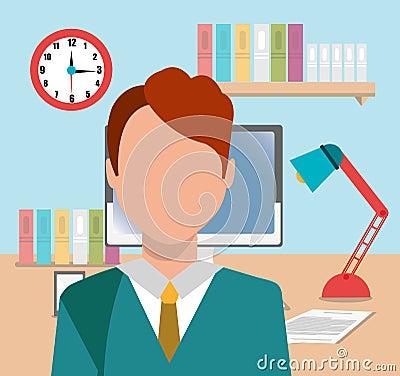 办公室内部工作场所 向量例证
