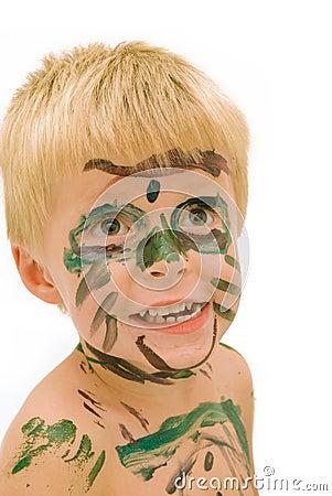 被绘的儿童表面