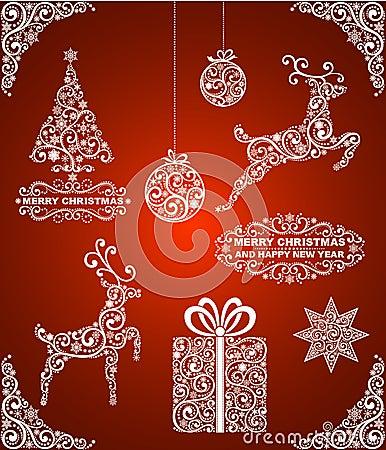套抽象圣诞节标志,在红色背景.图片
