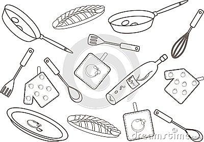 室内厨房手绘线稿