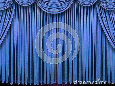 蓝色古典窗帘剧院