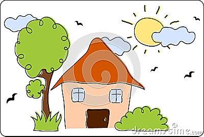 春天或夏天风景与房子