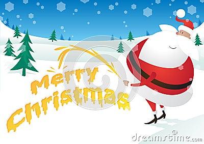 粗鲁的圣诞老人采取小便并且说圣诞快乐图片