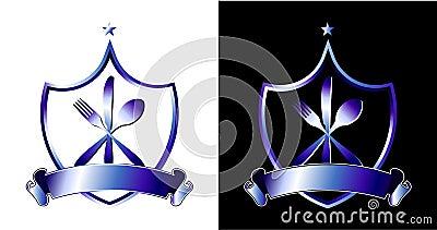 可用的背景染黑刀叉餐具叉子图标例证刀子盾剪影
