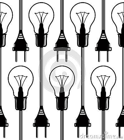 电灯泡无缝的样式,黑白传染媒介背景.图片