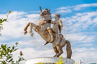在马其顿广场的雕塑亚历山大大帝.