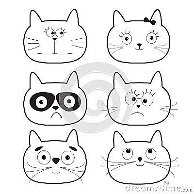 逗人喜爱的黑等高猫头集合 滑稽的漫画人物 奶油被装载的饼干 查出 平
