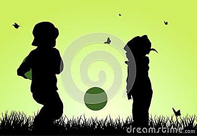 儿童剪影 向量例证 - 图片