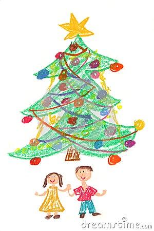 儿童圣诞节图画结构树