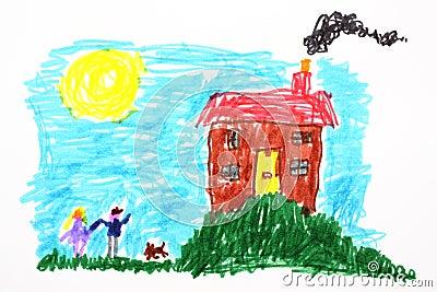 儿童图画房子s 库存图片