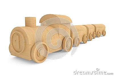 儿童玩具木火车 免版税库存图片