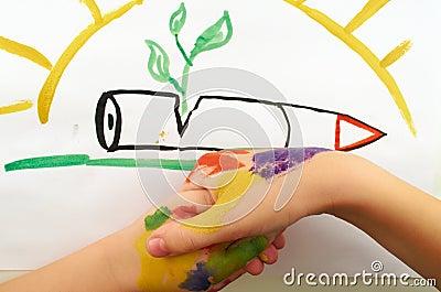 7岁儿童站战争画