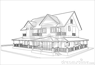 房子素描简单图片