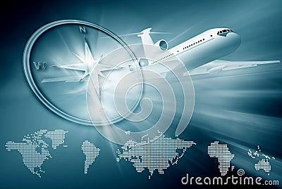 飞机背景蓝色 免版税库存照片