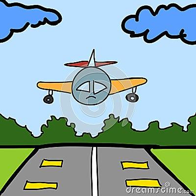 飞机和跑道动画片 免版税库存图片