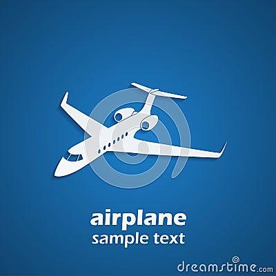 转换型飞机剪影的图片在蓝色背景的与阴影