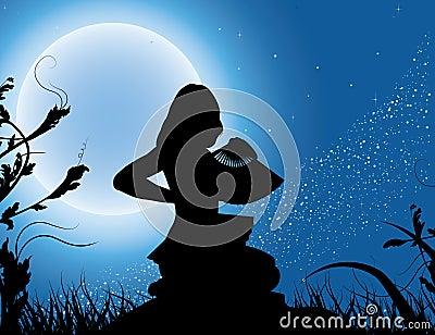 风扇充分的女孩月亮剪影
