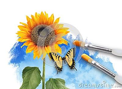 覆盖本质绘画向日葵