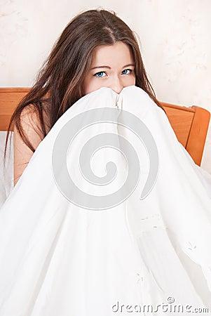 害怕女孩大量地 免版税库存照片 竖