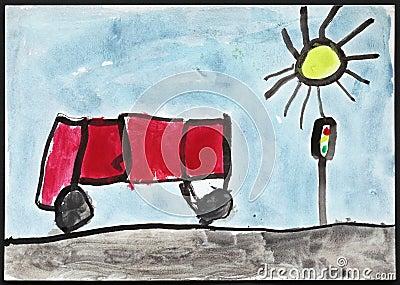 红色公共汽车和红绿灯-儿童的图画