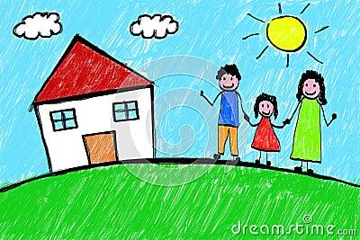 家庭议院徒手画的儿童图画
