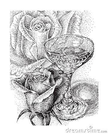 画玫瑰花的步骤素描