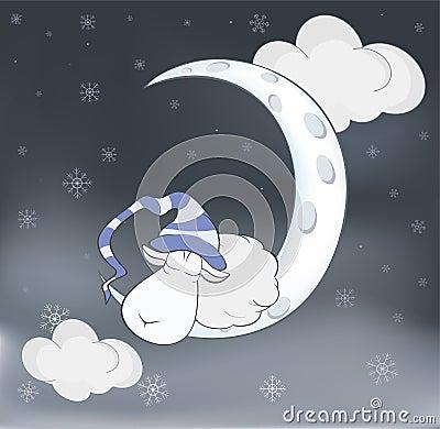 可爱的羊羔和月亮动画片
