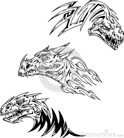 恐龙纹身花刺. 套黑白向量例证.